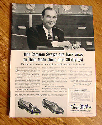 1955 Thom McAn Shoes Ad John Cameron Swayze Famous News Commentator