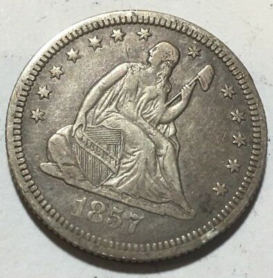 1857 Seated Liberty Quarter  - Great Detail  - 90% Silver
