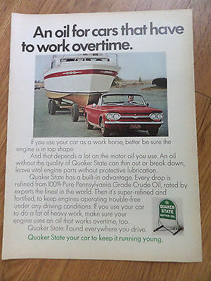 1968 Quaker State Oil Ad  Small Convertible towing Large Boat Corvair ?