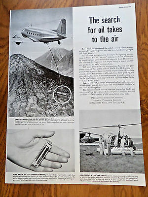 1951 American Petroleum Ad Search for Oil takes to the Air  Magnetometer