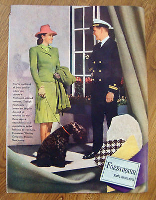 1944 Forstmann Fashion Ad Poodle Dog