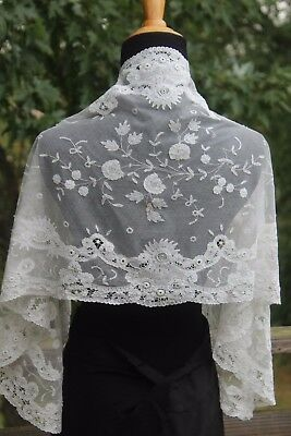 Vtg Antique Brussels White Cotton Princess Net Lace Runner Shawl Veil Gorgeous!