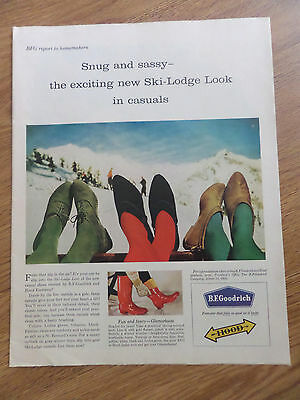 1960 BF Goodrich Hood Shoes Ad  Snug & Sassy New Ski-Lodge Look in Casuals
