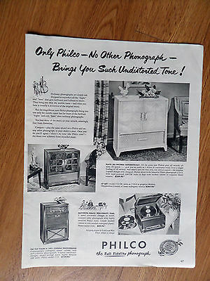 1950 Philco Phonograph Radio Ad