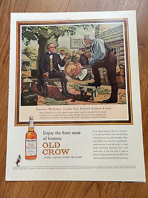 1963 Old Crow Whiskey Ad Senator Daniel Webster