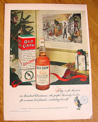 1951 Old Crow Whiskey Ad Holiday Christmas Cheer Theme in Old Kentucky 1842