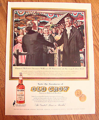 1960 Old Crow Whiskey Ad Webster Honors Harrison at the Log Cabin Ball