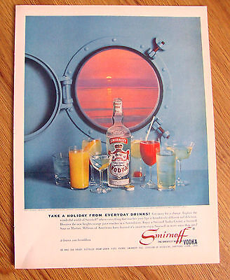 1961 Smirnoff Vodka Ad  Take a Holiday from Everyday Drinks