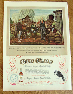 1950 Old Crow Whiskey Ad Westbound Covered Wagons 49-er