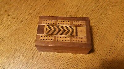 Vintage Cribbage Board, 1905?, Original Dark Hard Wood Pattern With Pieces