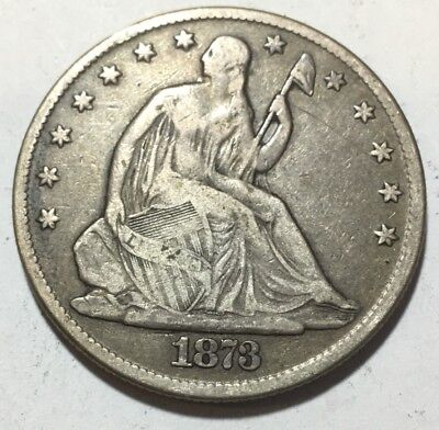 1873 SEATED LIBERTY HALF DOLLAR - only 800,000 Minted - 90% SILVER
