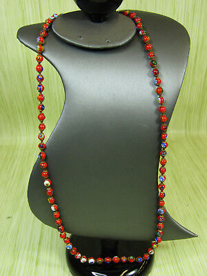 """Vintage Knotted Millefiori Glass Beaded Jewelry Necklace Orange Floral 27"""""""