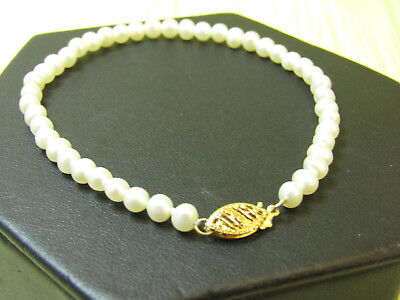 """14K Yellow Gold Jewelry Findings Bracelet Egg Shaped Real Pearls 7.25"""""""