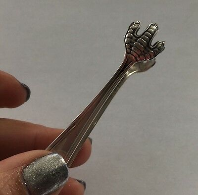 "Solid Sterling Silver Sugar Olive Pickle Tongs 14g, 3.5"" Claw Ends, No Monogram"