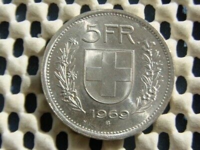 SWITZERLAND. silver 5 Fr 1969. Uncirculated ?