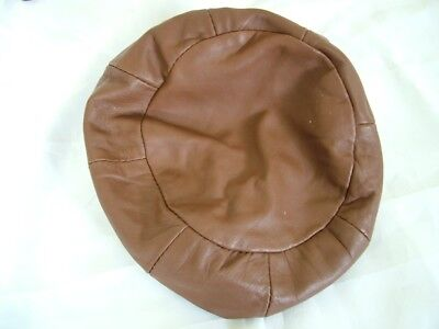 Vintage 60s 70s brown leather beret hat, XS S