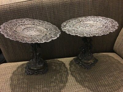 Antique Pair Stands Renaissance Revival Classical Nymphs - German 800 Silver