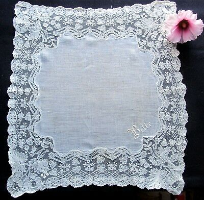 Gorgeous Antique White Linen Handkerchief w/ Wide Lace Edging - Free Shipping