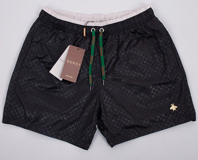 Gucci Mens Swim Shorts, Black White Trunks With Embroidery Bee