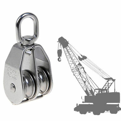 1Pc Stainless Steel Pulley Rope Pully Lifting Wheel Double Swivel Block M15