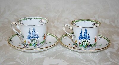 Pretty Pair Of Art Deco Tuscan China Hand Painted Enamelled Cups And Saucers