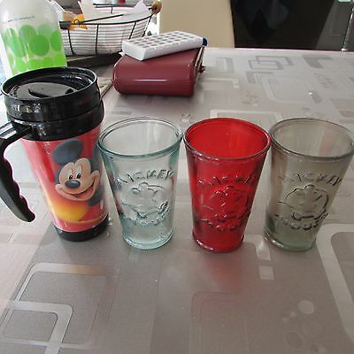 Lot de 3 verres Disney Mickey Collection Vintage + Mug isotherme