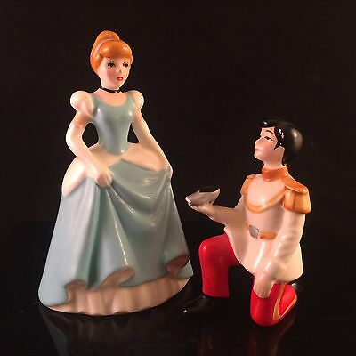Cinderella & Price Charming Walt Disney Productions Japan Vtg Ceramic Figure Lot