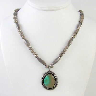 Navajo Handmade Sterling Silver & High Grade Turquoise Necklace │RS BM
