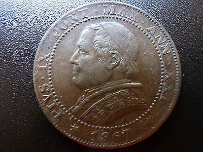 Rare in this condition 1867 Italy Papal States 1 Soldo