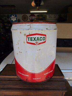 Vintage TEXACO 5 Gallon Metal Can FREE SHIPPING