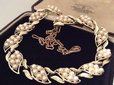 Vintage Jewellery Gorgeous Floral Design Pearl Link Necklace