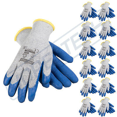 12 Pairs Cotton  Work Gloves w/ Blue Crinkle Texture Latex Coat JORESTECH