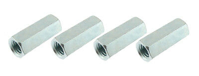"""4 Pack 7/16-14 x 1-3/4"""" Long Hex Coupling Nut with Zinc Plate NCU007C000STLZN"""