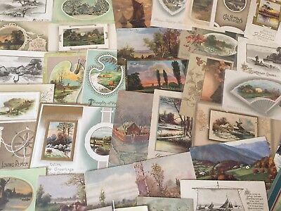 Huge Lot of 87  Vintage Postcards with Cottage & Various Scenes Scenic-k-35
