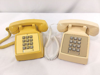 Vintage Tan Beige AT&T & Yellow Bell System Push Button Phone Metal Bottom