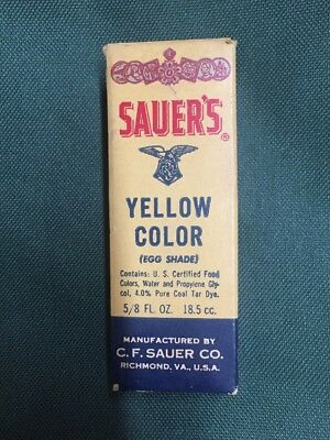 Vintage Sauer's Yellow Food Color 5/8 Ounce Collectible in Box. Really Nice!