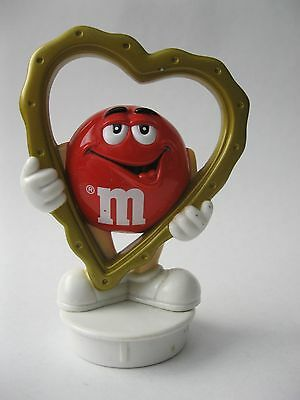 "RED WITH HEART stamped Mars, Inc. 1998 M&M's PVC Figure about 3"" tall M AND M's"