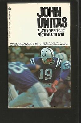 Sports Paperback: Johnny Unitas, Playing Pro To Win, Baltimore Colts, 176P, 4X7,