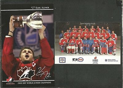 Team Canada Hockey Lot Of 2 Postcards: 2008 #27 Alzner Card, 1987-88 Team Canada