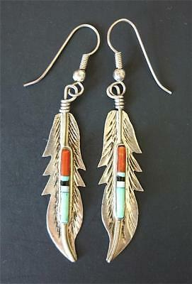 Vintage NAVAJO BARNEY Sterling Silver FEATHER Beaded DANGLE PIERCED EARRINGS