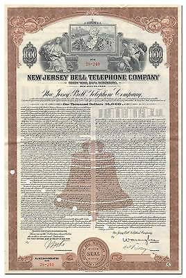 New Jersey Bell Telephone Company Bond Certificate