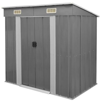 B#vidaXL Outdoor Garden Patio Shed Tool Storage House with Foundation Grey Metal