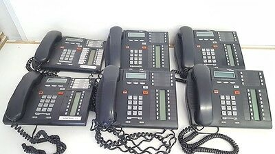 Lot of 6 Nortel Networks T7316 Phones with Cords Charcoal