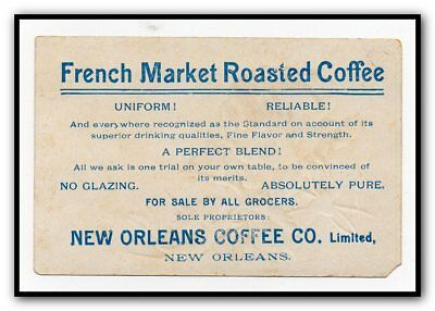 Antique Victorian Advertising Trade Card French Market Roast Coffee New Orleans