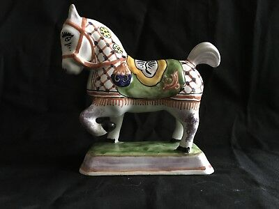 Vintage Tin Glaze Faience Horse Figurine France