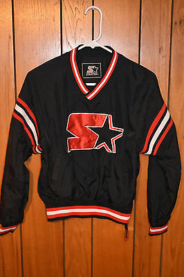 Vintage Starter Windbreaker Pullover Jacket Boy's Size Medium Black & Red