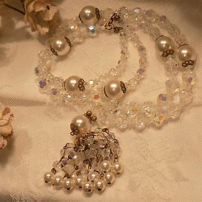 """Fabulous Vintage30"""" Faceted Crystal & Faux Pearl DrippyTassel Necklace"""