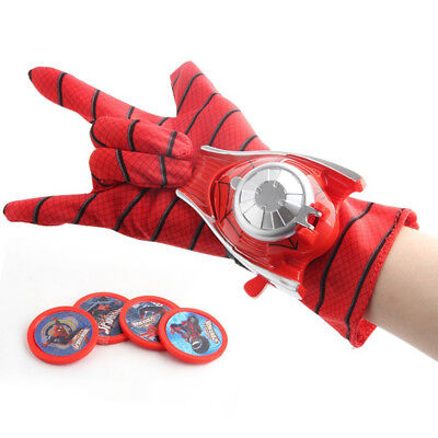 Superheros Spiderman Toys Glove Cosplay Props Kids Launcher Glove with 4 Frisbee