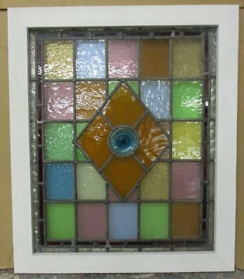 "MID SIZED OLD ENGLISH LEADED STAINED GLASS WINDOW Colorful Bullseye 21.75"" x 26"""
