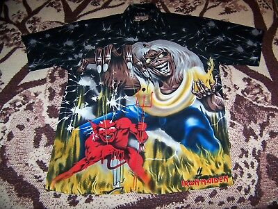 Vintage IRON MAIDEN THE NUMBER OF THE BEAST Dragonfly Button Dress Shirt Sz XL